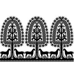 seamless polish folk art black pattern vector image vector image