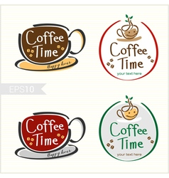 Set of hand drawn style coffee badge label vector image