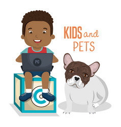 boy with computer laptop and dog character vector image