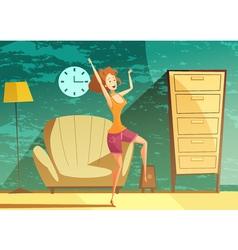Girl dancing alone cartoon poster vector