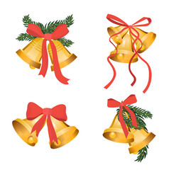 golden christmas bells holiday collection with vector image