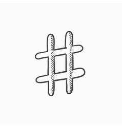 Hashtag symbol sketch icon vector image