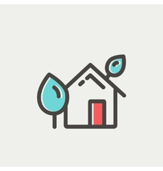 House with leaves thin line icon vector image