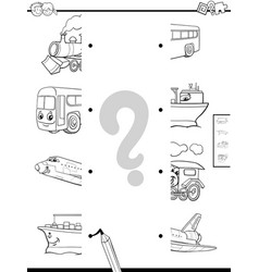 match vehicles halves coloring page vector image vector image