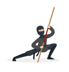 ninja assassin character in a full black costume vector image vector image