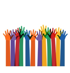 raising multi color hands vector image