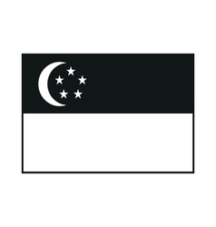 Republic of Singapore flag monochrome on white vector image