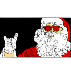 santa claus on black background vector image vector image