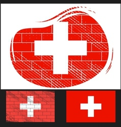 Scratched flag of Switzerland vector image vector image