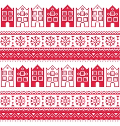 Christmas knitted seamless pattern with town house vector image vector image