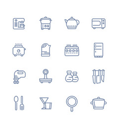 kitchen line icons set isolated over white vector image