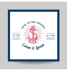 Wedding Invitation Card - Save the Date - Marine vector image