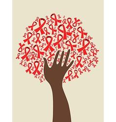 AIDS ribbon hand tree vector image vector image