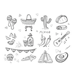 doodle mexican food tequila red hot chili vector image