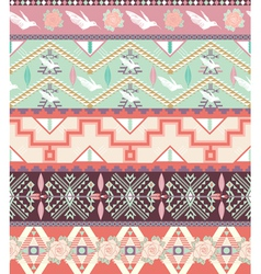 Seamless pastel aztec pattern with birds and roses vector image