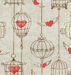 Seamless pattern with birds cage and hearts vector image