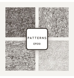Set of patterns with grungy hand-drawn wood vector image vector image
