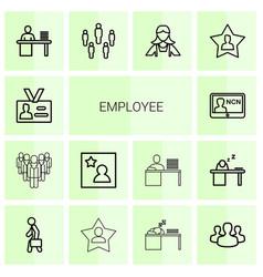 14 employee icons vector image
