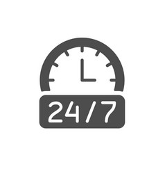 24 hours service glyph icon vector