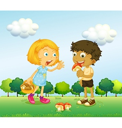 A girl and a boy picking up mushrooms vector