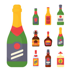 Alcohol drinks beverages cocktail bottle lager vector
