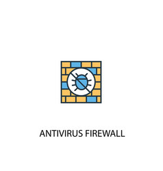 Antivirus firewall concept 2 colored line icon vector