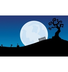 At night full moon scenery Halloween backgrounds vector image