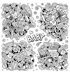 baby cartoon doodle designs set vector image