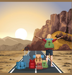 Beautiful western landscape with travel bags and vector