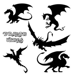 black stylized dragons vector image