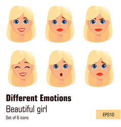 blonde woman with different face expressions vector image