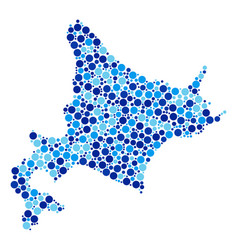 Blue dot hokkaido island map composition vector