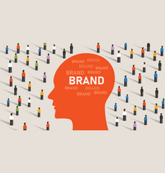 brand perception inside consumer head among vector image