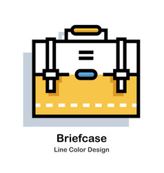 Briefcase line color icon vector