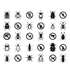 bugs icon set simple style vector image