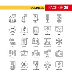 business black line icon - 25 business outline vector image