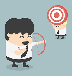 Businessman shooting target with a bow eps10 vector image