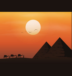 Caravan with camels in desert with pyramids vector
