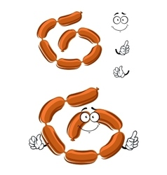 Cartoon appetizing brown pork sausages vector