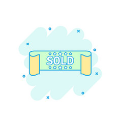 cartoon colored sold ribbon icon in comic style vector image