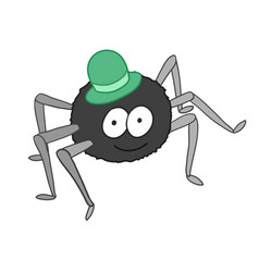 cartoon cute spider in hat isolated on white vector image