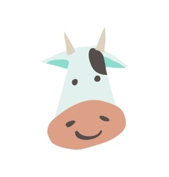 cartoon flat cow face mascot icon vector image