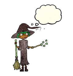 cartoon witch casting spell with thought bubble vector image