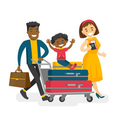 cheerful multicultural family traveling abroad vector image