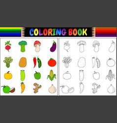 coloring book with fresh vegetables cartoon vector image