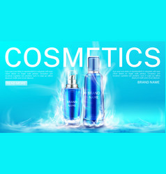 Cosmetics bottles in dry ice smoke cloud landing vector