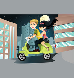 Couple riding motorcycle vector