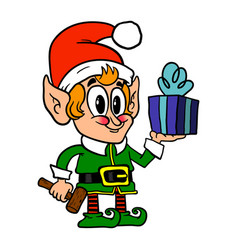 Cute christmas elf vector