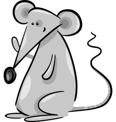Cute gray mouse cartoon vector