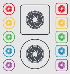 Diaphragm icon aperture sign symbols on the round vector